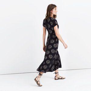Madewell silk moonshade maxi palm leaf dress black